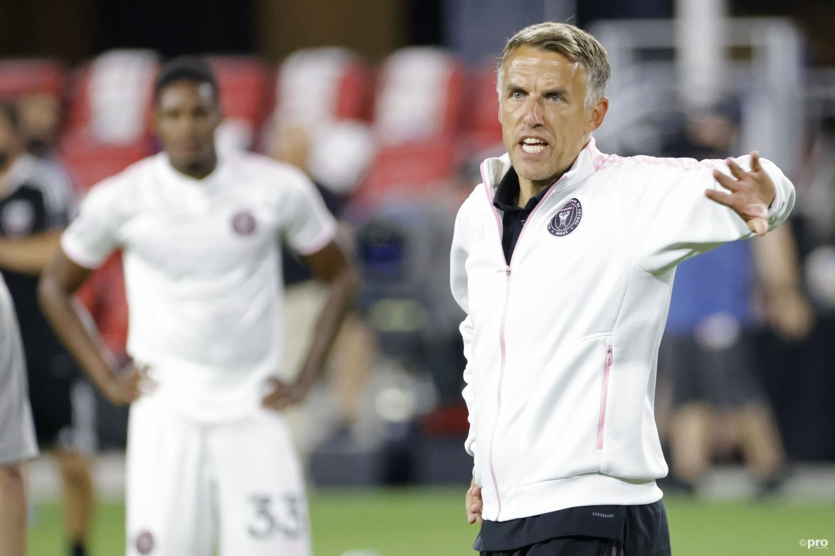 Former Manchester United defender Phil Neville in charge of Inter Miami in an MLS match