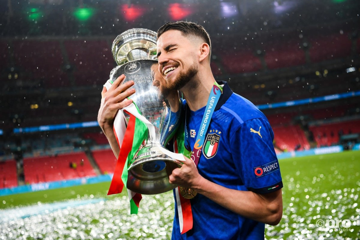 Jorginho of Italy holds Euro 2020 trophy