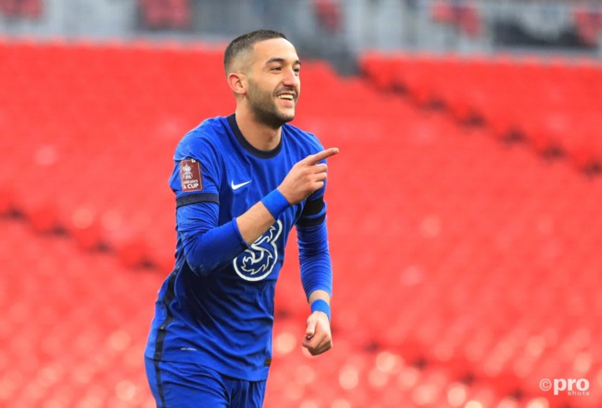 Hakim Ziyech celebrates his FA Cup semi-final winning goal