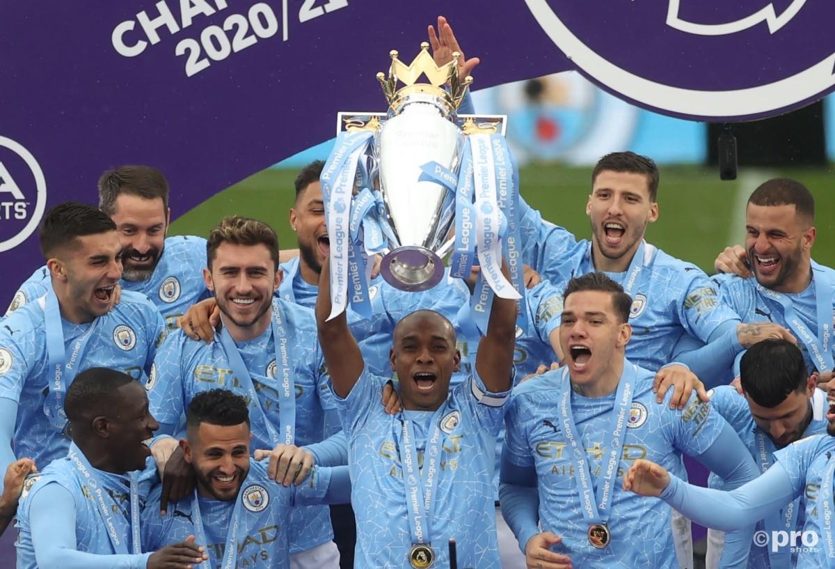 Manchester City lift Premier League trophy 2020/21
