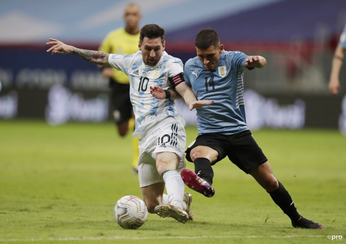 Barcelona's Lionel Messi challenges for possession playing for Argentina, Copa America 2021