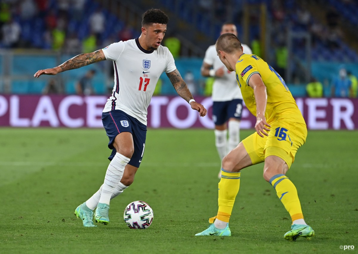 Jadon Sancho playing for England against Ukraine at Euro 2020