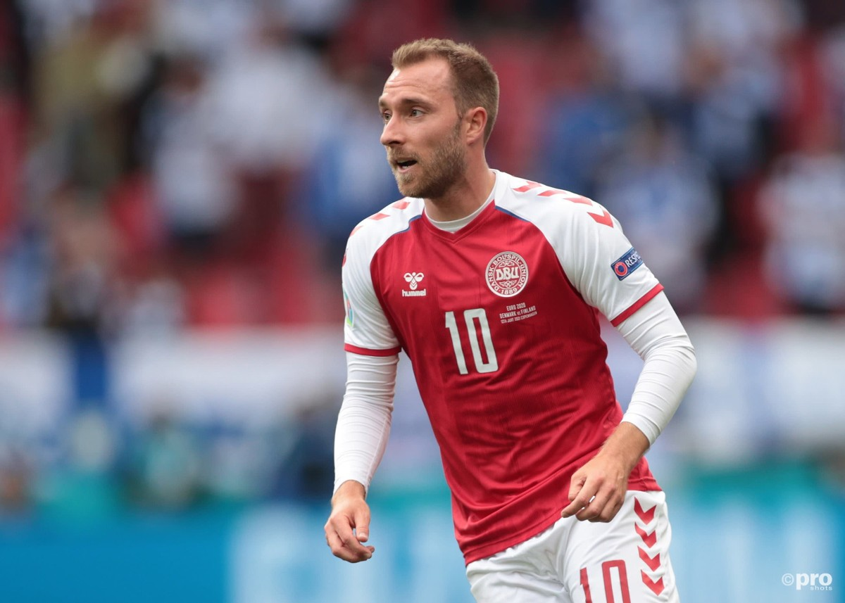 Christian Eriksen playing against Finland in Euro 2020