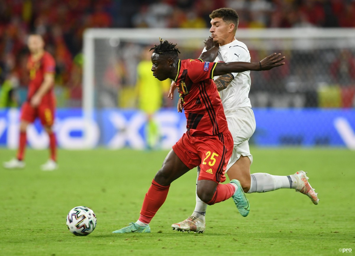 Rennes winger Jeremy Doku playing for Belgium against Italy at Euro 2020