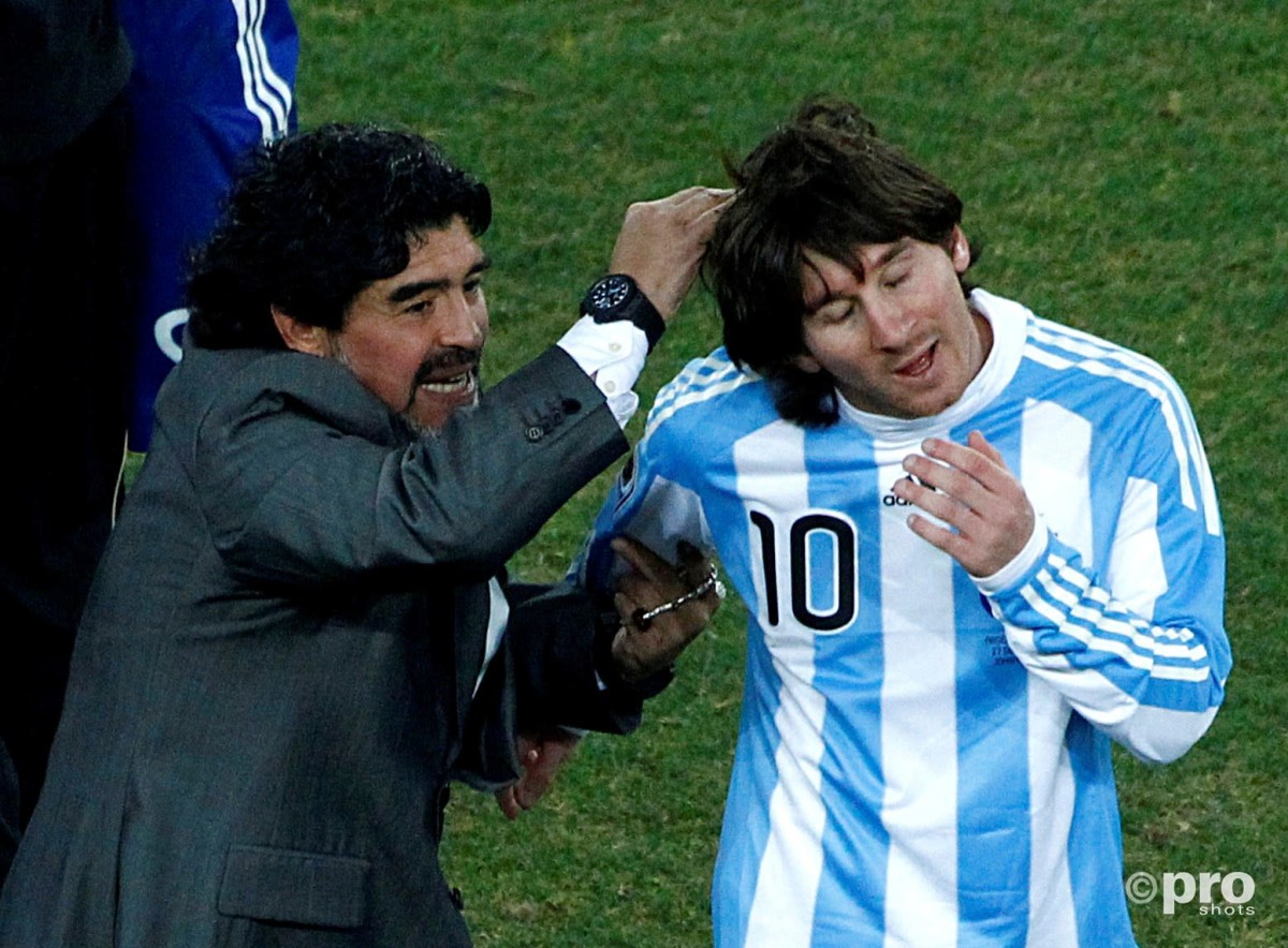 Lionel Messi and Diego Maradona, 2010 World Cup