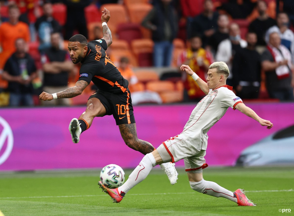 New Barcelona signing Memphis Depay shoots of the Netherlands against North Macedonia at Euro 2020